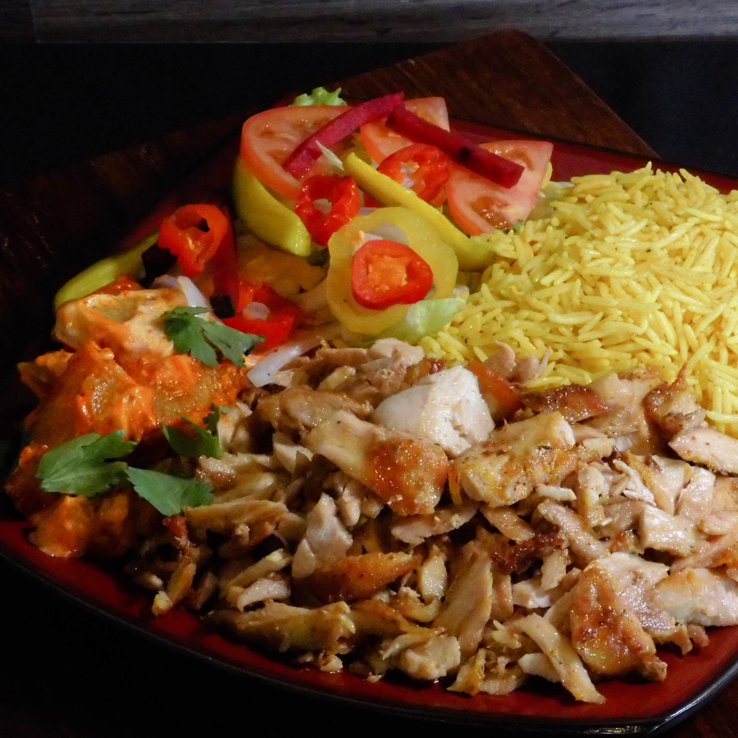 epic pita chicken shawarma plate rice grilled vegetables